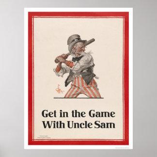 Consiga en el juego con tío Sam Poster