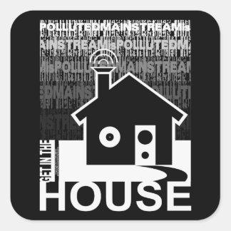 Consiga en la música de la casa calcomania cuadradas personalizada