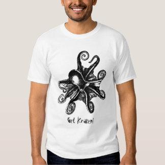 ¡Consiga Kraken! Camiseta de STeampunk del pulpo Poleras