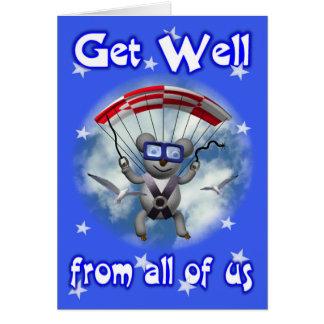Consiga la koala bien del paracaidismo tarjeta de felicitación