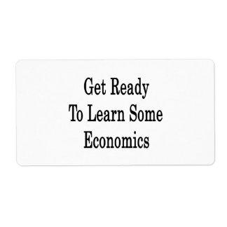 Consiga listo para aprender una cierta economía etiquetas de envío