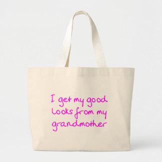 Consiga mis buenas miradas de mi abuela (el rosa) bolsa tela grande