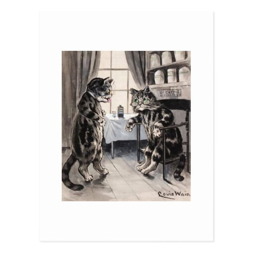 Consiga pronto la tarjeta bien del gato del vintag tarjetas postales