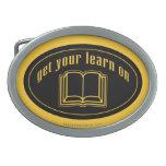 Consiga su aprenden en el libro de escuela hebilla de cinturón oval