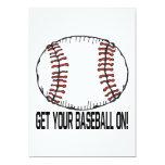 Consiga su béisbol encendido invitación 12,7 x 17,8 cm