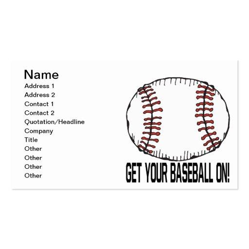 Consiga su béisbol encendido tarjetas de visita