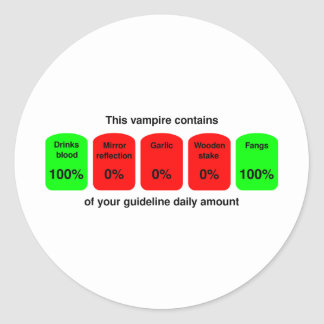 ¡Consiga su cantidad diaria de calidad del vampiro Pegatina Redonda