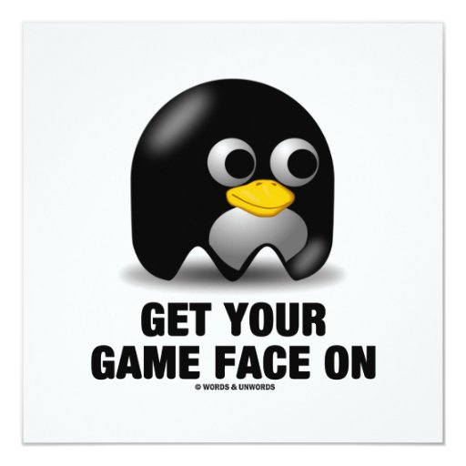 """Consiga su cara del juego en Tux (el pingüino de Invitación 5.25"""" X 5.25"""""""