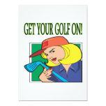 Consiga su golf encendido invitaciones personalizada