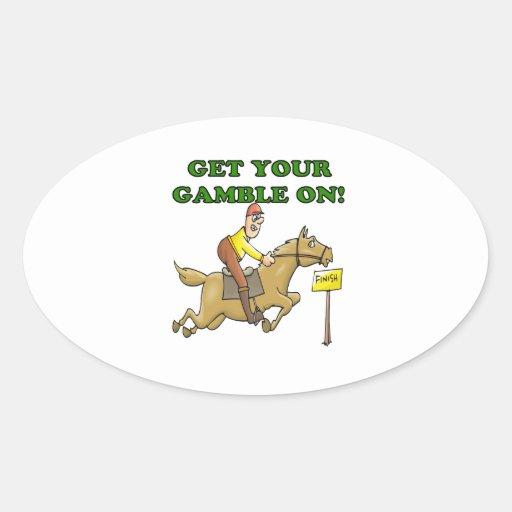 Consiga su juego encendido calcomanía de óval