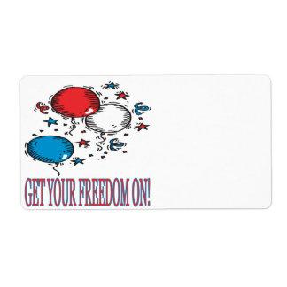 Consiga su libertad encendido etiquetas de envío