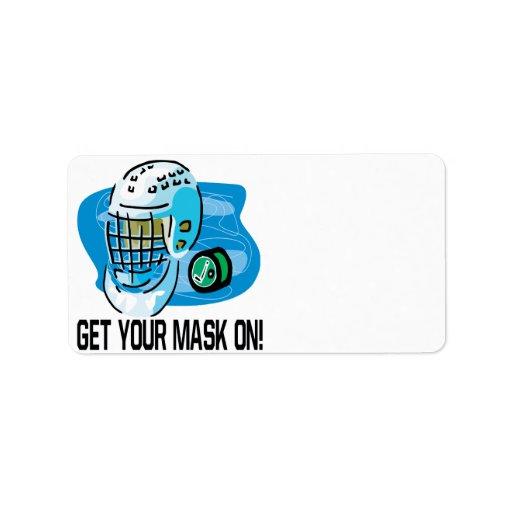 Consiga su máscara encendido etiqueta de dirección
