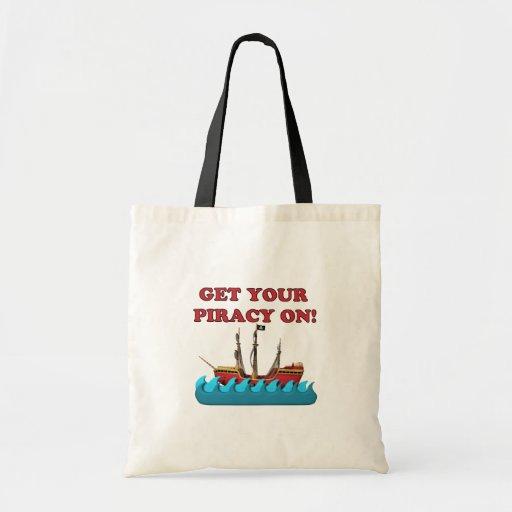 Consiga su piratería encendido bolsa tela barata