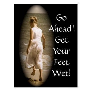 Consiga su postal inspirada mojada de los pies