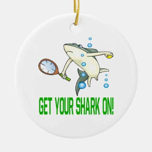 Consiga su tiburón encendido ornamentos de navidad