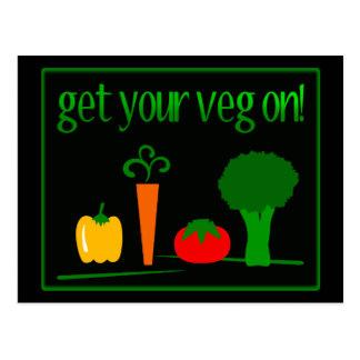 ¡Consiga su Veg encendido Con Veggies clasificado Tarjetas Postales