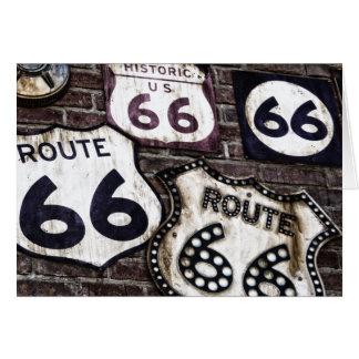 Consiga sus retrocesos en la ruta 66 tarjeta de felicitación