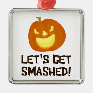 Consigamos al fiesta roto de Halloween Adorno Navideño Cuadrado De Metal