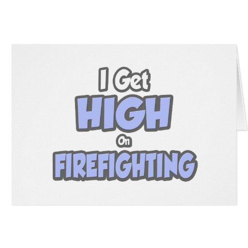 Consigo alto en lucha contra el fuego tarjeton