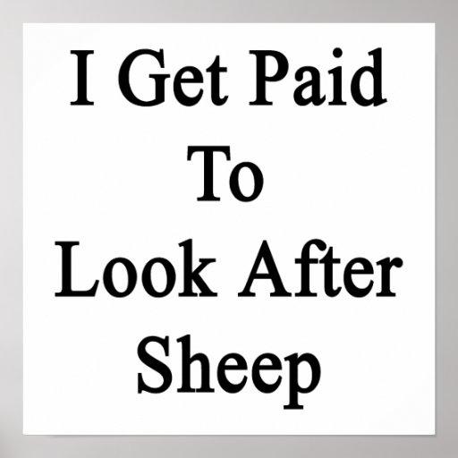 Consigo pagado ocuparme ovejas póster