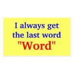 Consigo siempre la palabra pasada tarjeta de visita