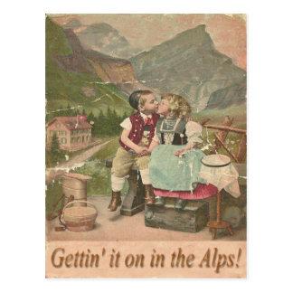 Consiguiéndolo encendido en la postal suiza del vi