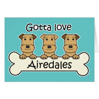 Consiguió amar Airedales Tarjetón