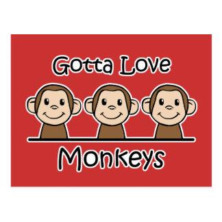 Consiguió amar monos tarjetas postales