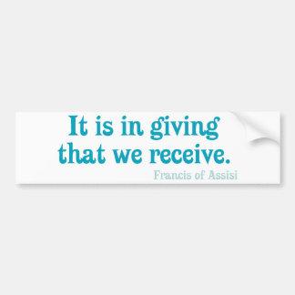Consiste en el donante ese nosotros recibe Francis Etiqueta De Parachoque