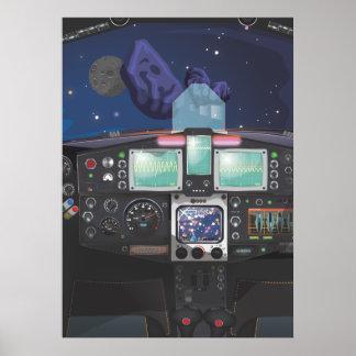 Consola de la nave espacial póster