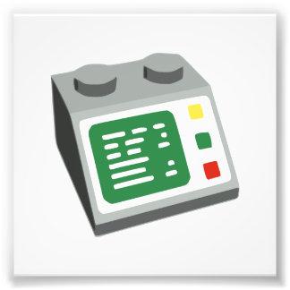 Consola informática del ladrillo del juguete fotos