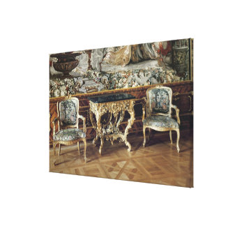 Console table and two armchairs, 1745 canvas print