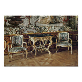 Console table and two armchairs, 1745 poster