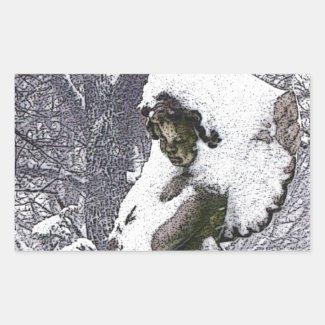 Consoling Angel • Cherub Rectangle Sticker