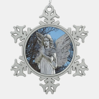 Consoling Angel • Sunshine Snowflake Pewter Christmas Ornament