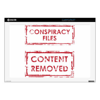 """Conspiracy Files Stamp Content Removed Stamp 17"""" Laptop Skin"""