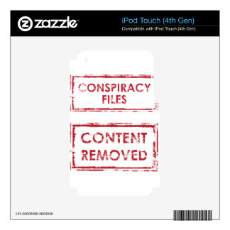 Conspiracy Files Stamp Content Removed Stamp Decal For iPod Touch 4G