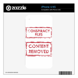 Conspiracy Files Stamp Content Removed Stamp iPhone 4 Decal
