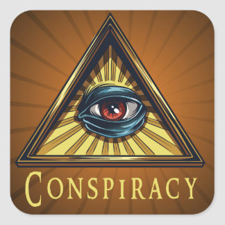 Conspiracy Genre Square Book Cover Sticker
