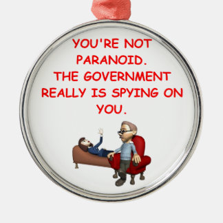 conspiracy round metal christmas ornament