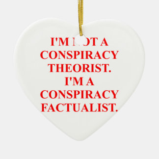 conspiracy Double-Sided heart ceramic christmas ornament