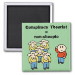 Conspiracy Theorist = non-sheeple 2 Inch Square Magnet