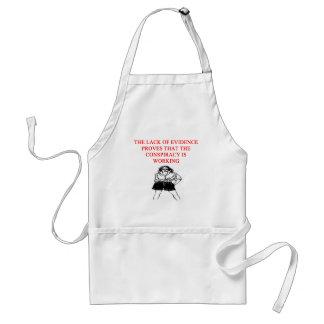 conspiracy theory joke adult apron