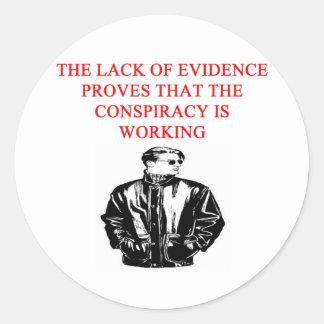 conspiracy theory joke round sticker