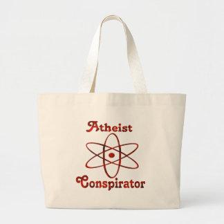 Conspirador ateo bolsa tela grande