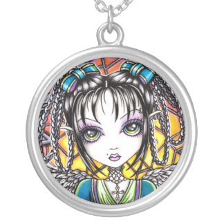 """Constance"" Stained Glass Angel Necklace"