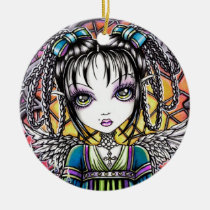 constance, stained, glass, angel, fairy, faery, fae, faerie, fantasy, art, myka, jelina, mika, angels, Ornament with custom graphic design
