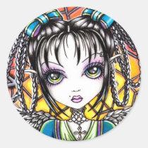 rainbow, stained, glass, angel, cute, big, eye, faery, fairy, fae, fairies, faerie, art, Sticker with custom graphic design