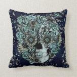 Constant, navy blue butterfly skull pillow