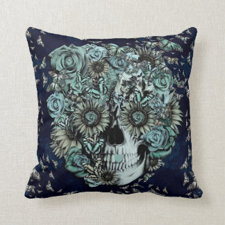 Constant, navy blue butterfly skull throw pillow